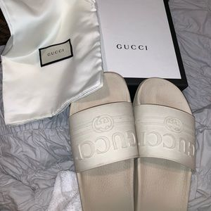 White rubber Gucci slides